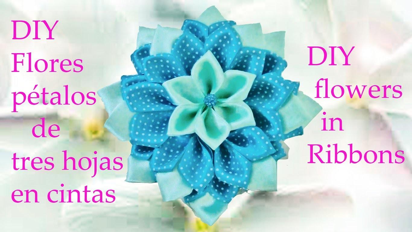 DIY Kanzashi flores pétalos de tres hojas en cintas - flowers with petals of three leaves in ribbons