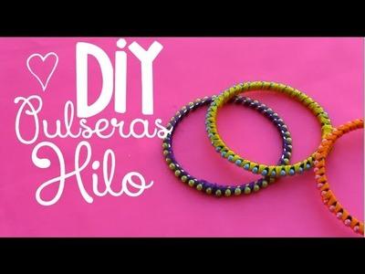 DIY pulsera hilo.hilaza  Faciles | RossaneTV ♥