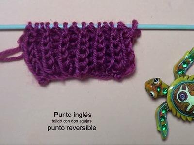 Punto inglés punto reversible tejido con dos agujas