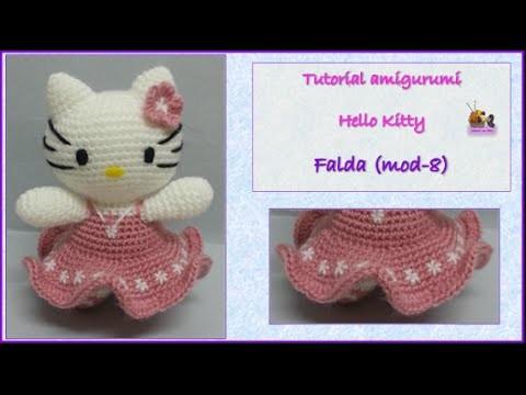 Tutorial amigurumi Hello Kitty - Falda (mod-8)