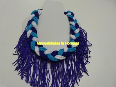 Tutorial collares trenzados en cordon de algodon  decorado con flecos paso a paso  351