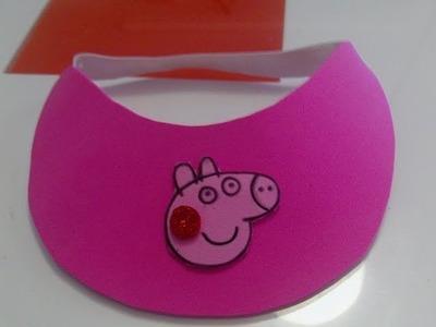 Visera Peppa Pig de goma eva muy fácil