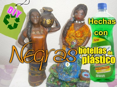 Africanas Porcelana Fría  Botellas plásticas PET , Cerámica.African with recycled packaging
