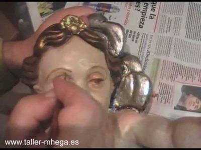 Angel. Dorado y policromado de una imagen - Cuarta parte