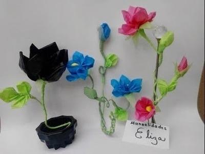 Como hacer flores con bolsas  de plastico  reciclaje