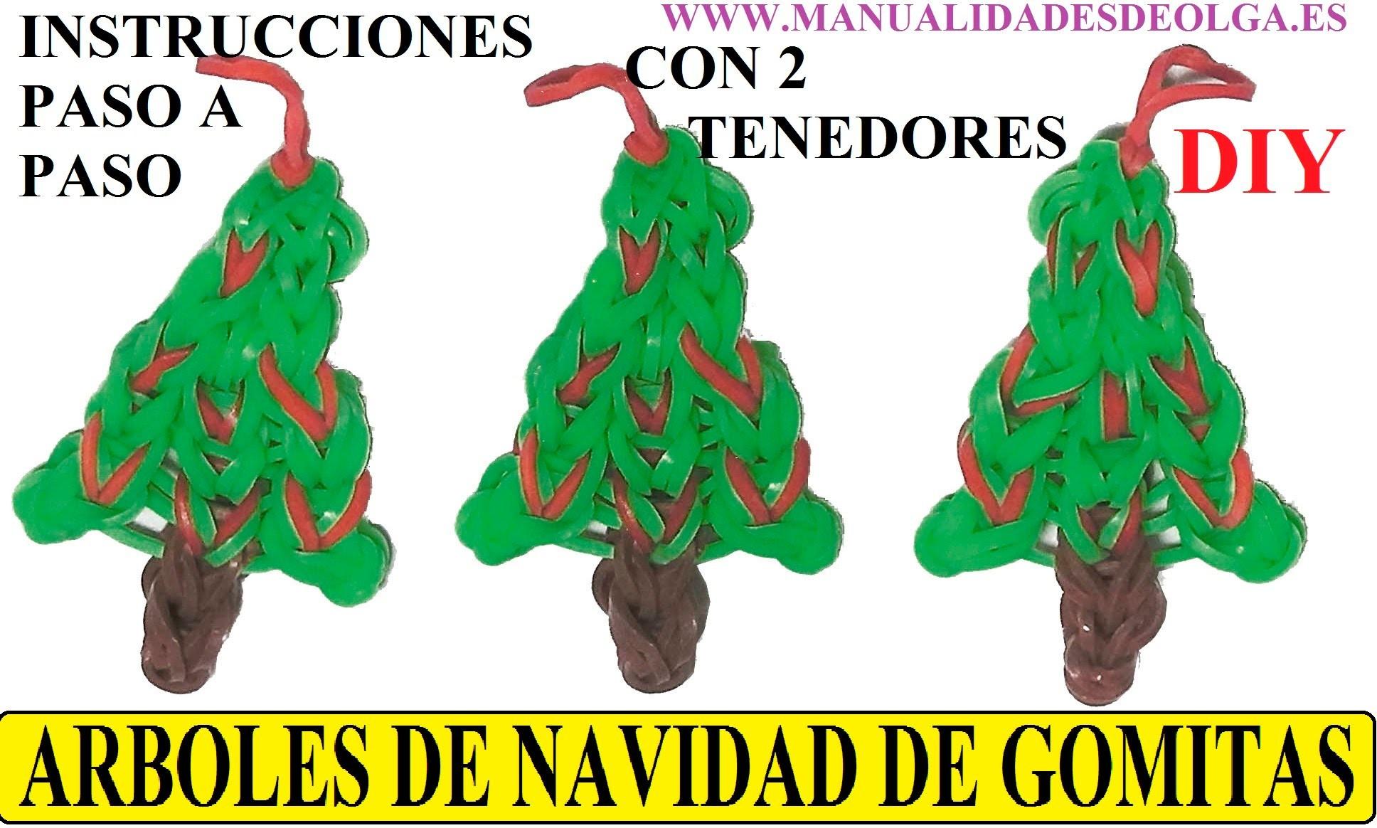 COMO HACER UN ARBOL DE NAVIDAD DE GOMITAS O LIGAS CON DOS TENEDORES, SIN TELAR. TUTORIAL