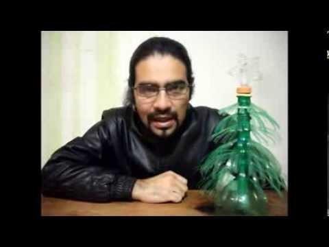 Como hacer un arbol navideño con botellas PET