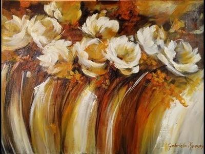 Como pintar con acrílico y espátula - Cuadro flores abstractas