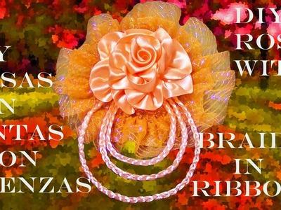 DIY Kanzashi rosas con trenzas en cintas - Kanzashi roses  braided in ribbonwiths