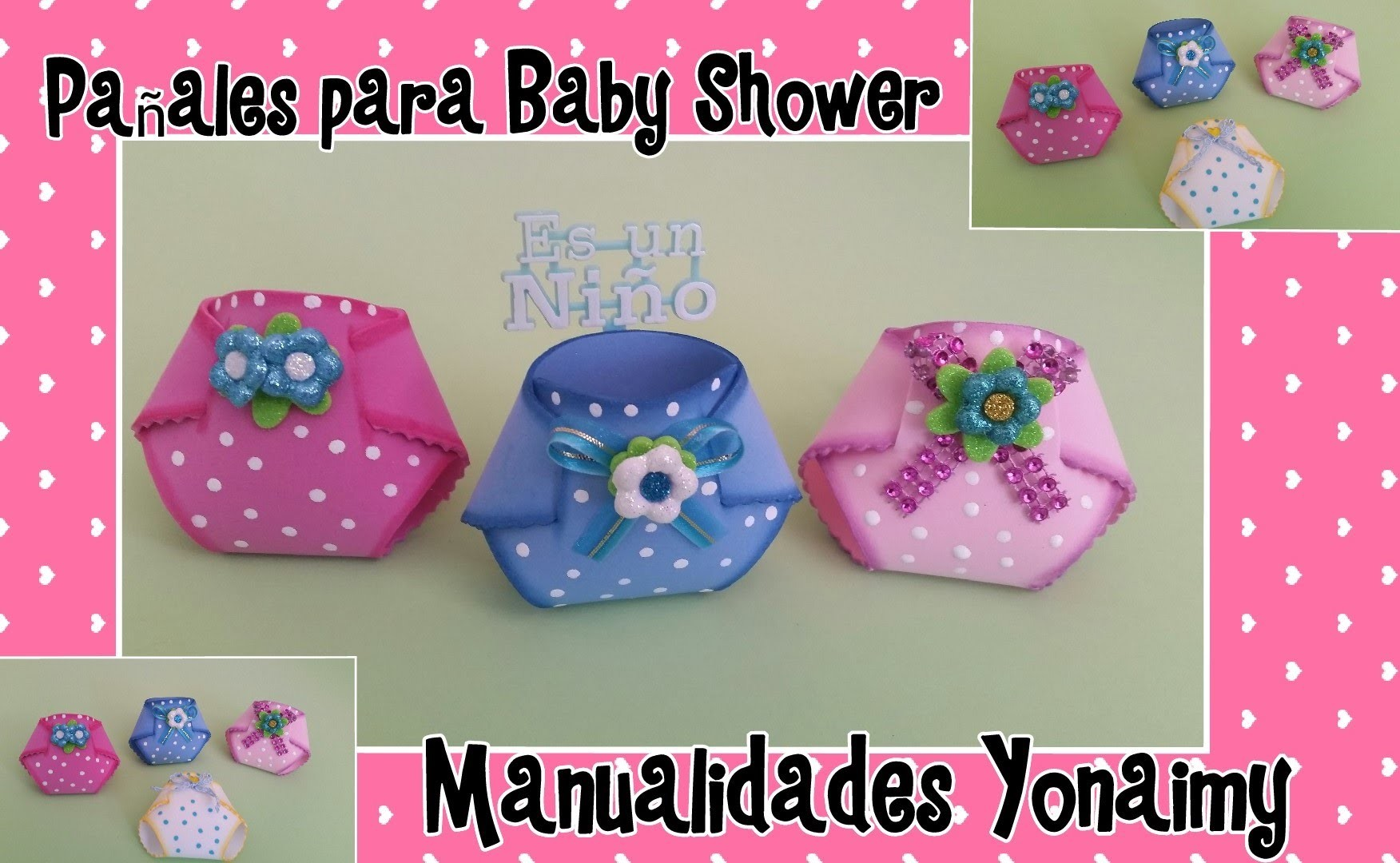 PAÑALITOS EN FOAMY O GOMA EVA PARA BABY SHOWER