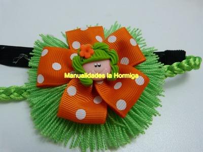 Tutorial de moños en lana  y flores en cinta paso a paso No. 347 Manualidades la Hormiga