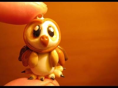 Búho en Porcelana fria. cold porcelain owl