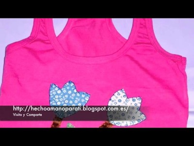Camisetas, decoradas, patchwork, personalizadas, telas, botones, bordadas, apliques, mujer, niñas.