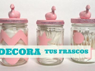Como decorar y reciclar  frascos de vidrio(cristal)
