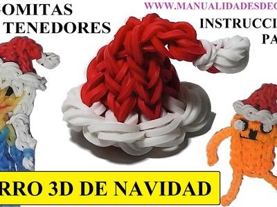 COMO HACER UN GORRO 3D DE NAVIDAD DE GOMITAS SIN TELAR, CON DOS TENEDORES. MANUALIDADES NAVIDEÑAS