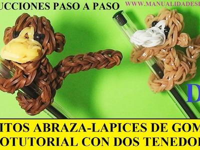 COMO HACER UN MONO ABRAZA-LAPICES DE GOMITAS (LIGAS) (MONKEY CHARM) CON DOS TENEDORES. TUTORIAL DIY