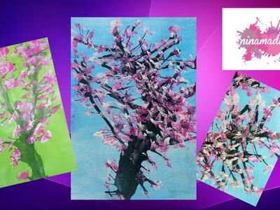 Como pintar un árbol con pajita y espuma.Fácil y divertido! Actividad para niños.