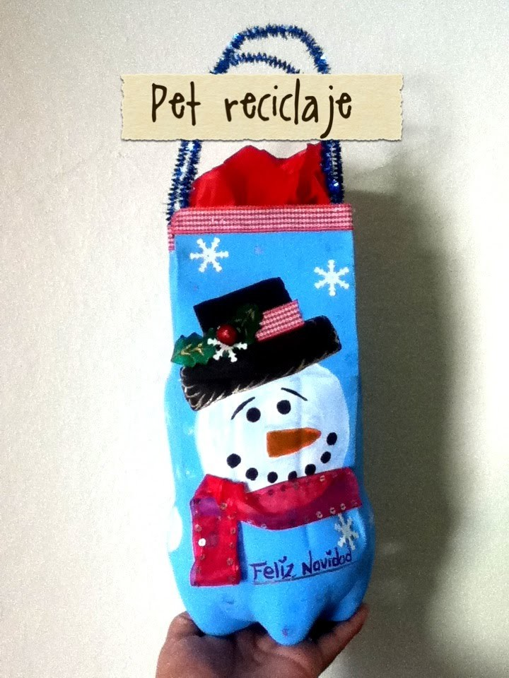 DIY Bolsa de regalo Navidad aguinaldos botella PET Christmas gift bag made of recycled pet bottle