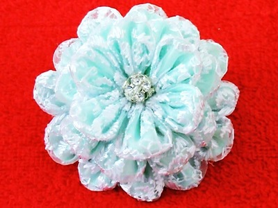 DIY Kanzashi Flores de encajes - translucent Kanzashi of lace flowers in ribbons