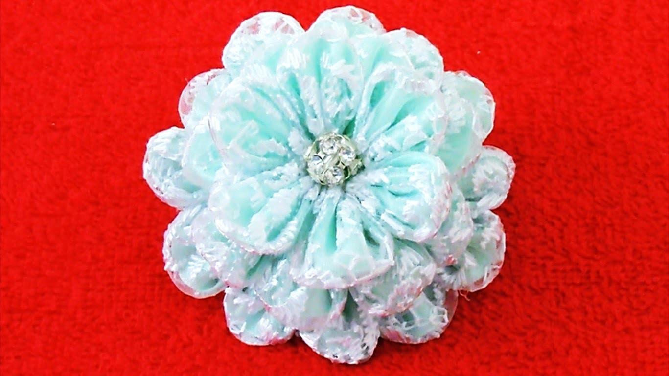 DIY Kanzashi Flores de encajes - translucent Kanzashi of lace flowers in ribbons