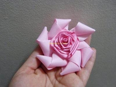 Moños  flores en cinta  gross raso satinada para el cabello paso a paso. Manualidadeslahormiga
