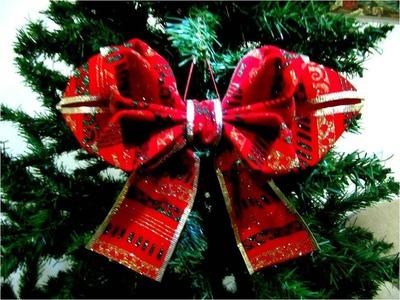 Moños  Navideños en cintas diseño de hojas dobles