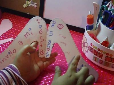 "NVITACION de CENICIENTA""zapatilla"" para FIESTA INFANTIL"
