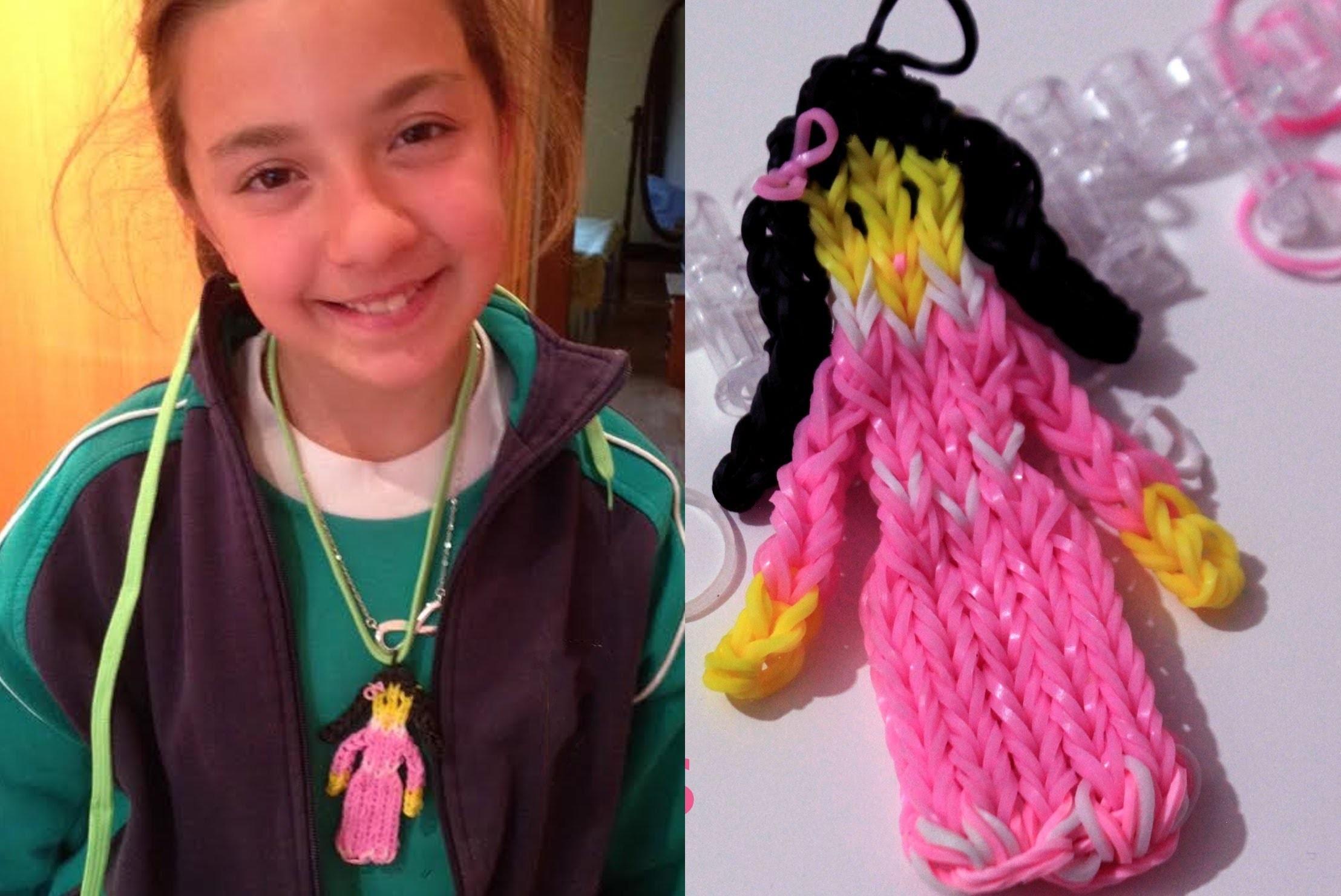 Princesa  de gomitas o ligas. Rainbow loom doll charm