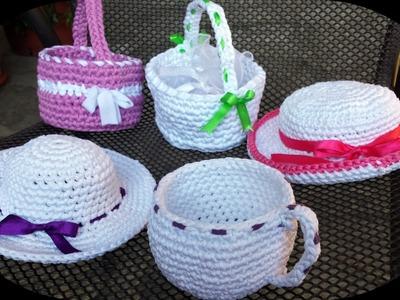 Còmo realizar una pequeña cesta de trapillo - Idea para decorar la casa - Bomboniere TUTORIAL DIY
