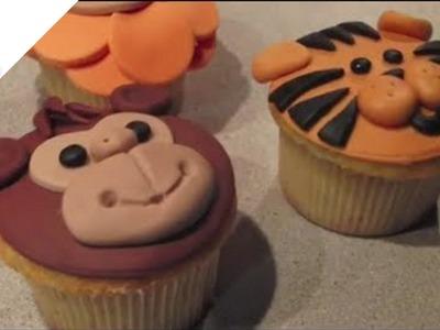 Cómo hacer Cupcakes Animales de la Selva (león, mono y tigre ) | Cupcakes por Azúcar con Amor