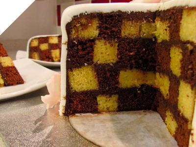 Cómo hacer un Checkerboard Cake cubierto con fondant | Tartas de fondant por Azúcar con Amor