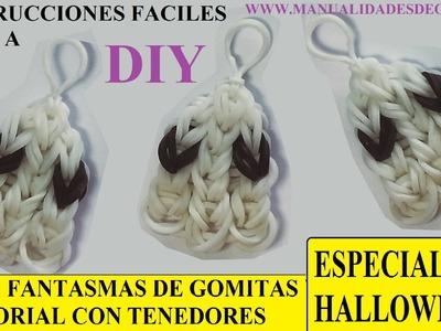 COMO HACER UN FANTASMITA DE GOMITAS SIN TELAR, CON DOS TENEDORES. TUTORIAL DIY