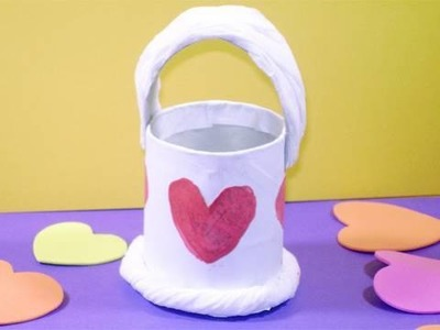 Como hacer una cestita pequeña con un tubo de papel higienico