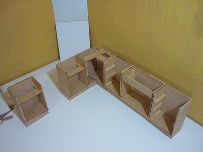 Como hacer una cocina completa para muñecas 1 (armado de gabinetes bajos)