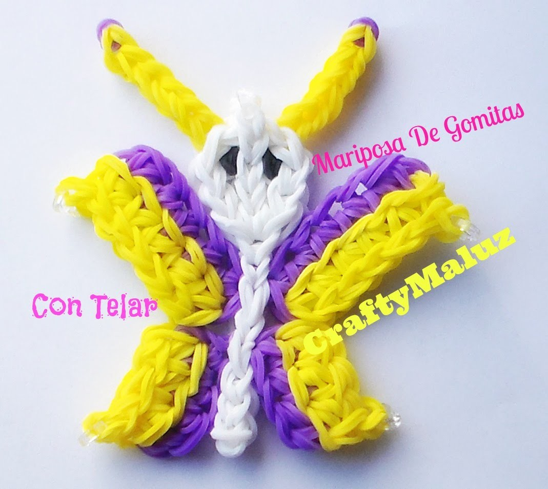 COMO HACER UNA MARIPOSA DE GOMITAS  CON TELAR. HOW TO MAKE A RAINBOW LOOM BUTTERFLY