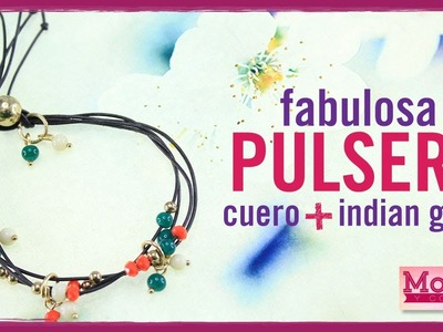 Como hacer una pulsera con cuero e indian glass episodio 3. Kit  23096