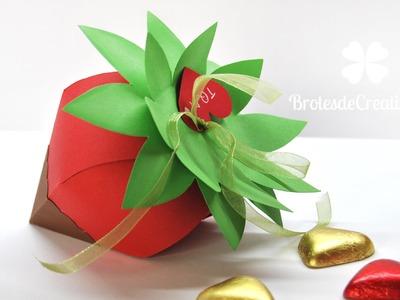DIY : Cajita para regalo con forma de fresa con. chocolate [Idea San Valentín - Día de la Amistad]