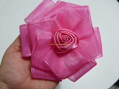 Moños en cinta de organza, y flores en cinta satin para el cabello paso a paso