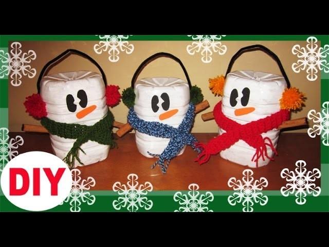 Muñecos de Nieve Con Botes de AGUA Reciclaje. Snowman recycled