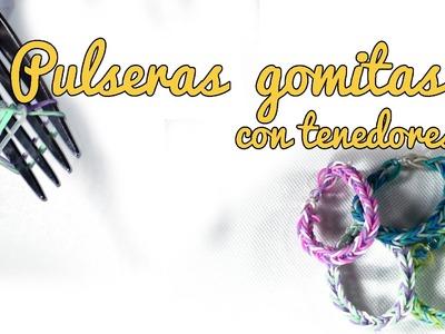 Pulseras de gomitas con tenedor - Pulsera de ligas (Manualidades Fáciles)
