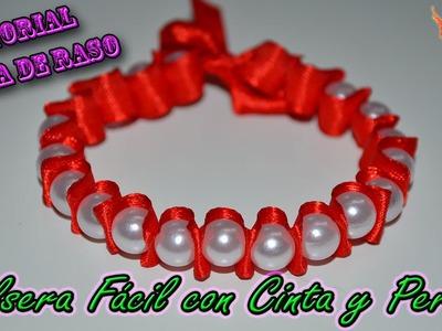 ♥ Tutorial:  Pulsera Fácil con Cinta y Perlas.Cuentas ♥