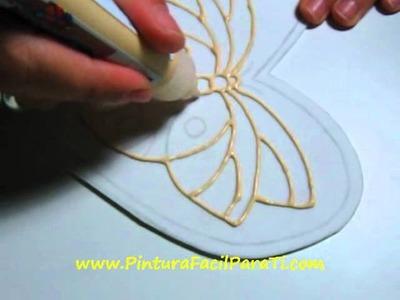 1 Corazon Mariposa San Valentin Falso Vitral 14 de Febrero Dia de los Enamorados Pintura Facil