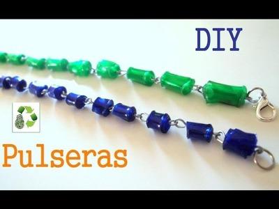 59. DIY CUENTAS DE PLÁSTICO-PULSERA (RECICLAJE DE BOTELLAS DE PLASTICO)