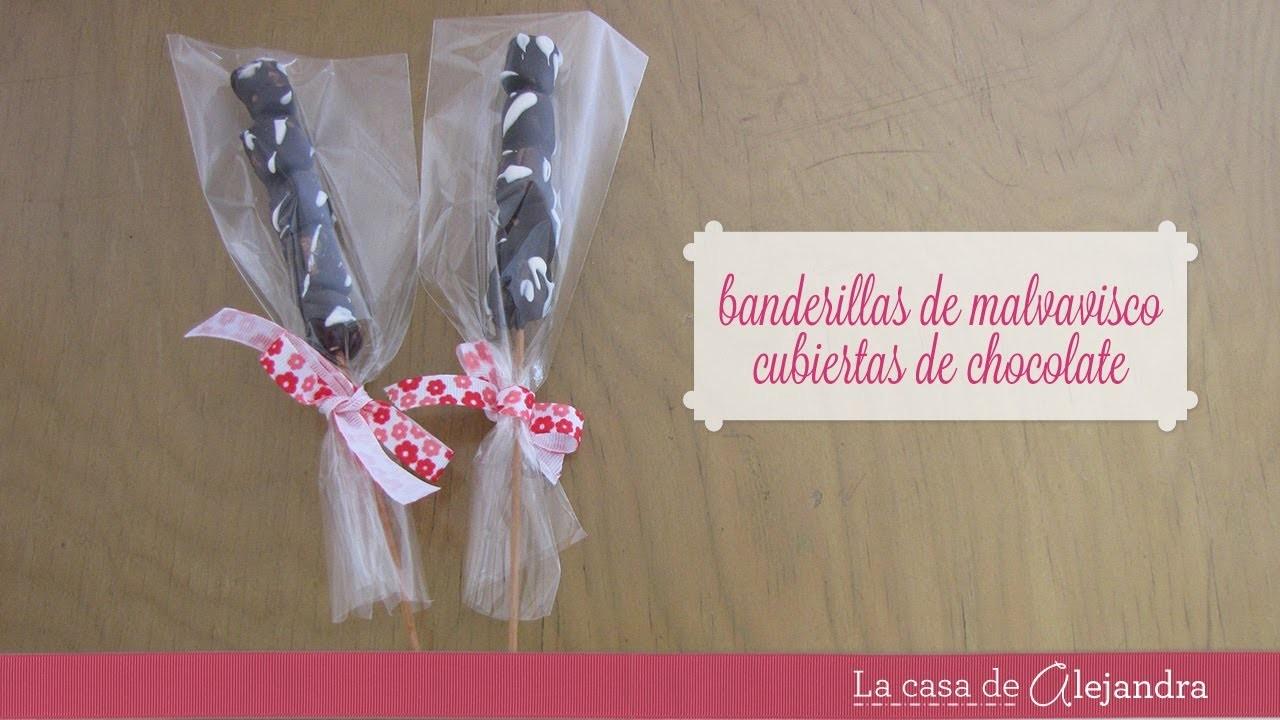 Banderillas de malvavisco con chocolate - DIY Chocolate-covered marshmallow