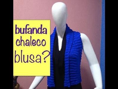 Bufanda Chaleco Tejido Palillos dos agujas