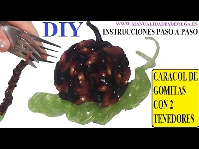 COMO HACER UN CARACOL DE GOMITAS (LIGAS) (SNAIL CHARMS) CON DOS TENEDORES. TUTORIAL DIY