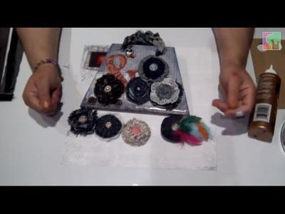 """Cómo hacer un minialbum con forma de bolso """"Denim Style"""" y flores de tela."""