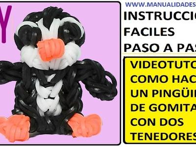 COMO HACER UN PINGÜINO DE GOMITAS (LIGAS) CHARMS CON DOS TENEDORES. VIDEOTUTORIAL DIY