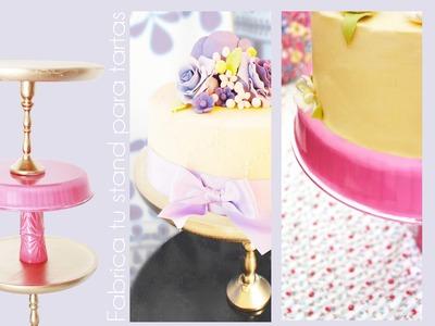 Cómo hacer un stand para tartas o posa tartas de madera y cristal