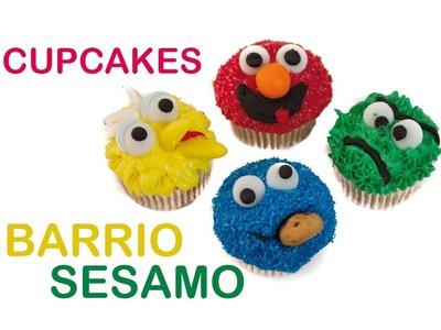 Cupcakes de Barrio Sesamo o Sesame Street